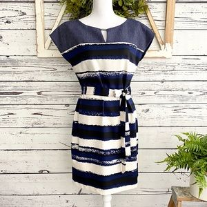 Andrew Marc Navy Blue Stripe Tie Waist Dress SZ 8